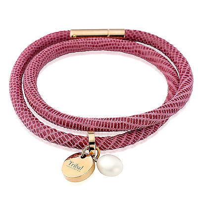£18.99 • Buy Tribal Steel 19cm Ladies Dotted Double Pink Leather Bracelet With Tag
