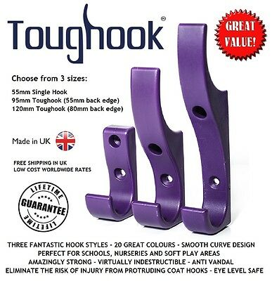 £12.95 • Buy 10x TOUGHOOK Super Strong Safety Coat Hooks For Schools UNBREAKABLE Plastic NEW