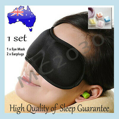 AU3.90 • Buy Black Sleeping Eye Mask Blindfold+ Earplugs Test Relax Sleep Cover Light Guide