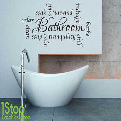 Bathroom Wall Sticker  -  Relax Unwind Words Home Wall Art Quote  X56 • 11.95£