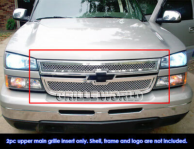 $161 • Buy Fits 2006 Chevy Silverado 1500/05-06 2500/3500 Main Stainless Chrome Mesh Grille
