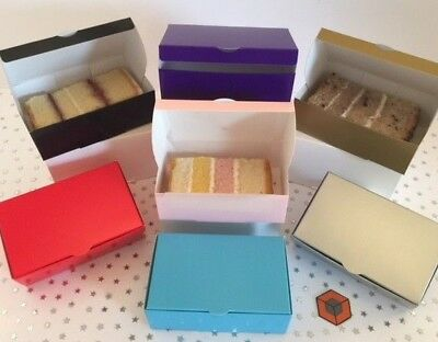 Cake Single Slice Party Boxes Perfect Size 120 X 90 X 35mm All Colours • 9.99£