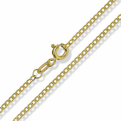 £84.99 • Buy 375 9ct Gold Curb Chain Yellow Solid Diamond Cut Link Pendant Necklace Gift Box