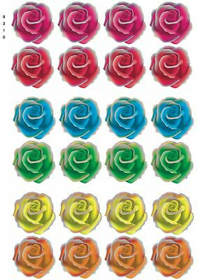 24 X Flowers Mixed Roses - Edible Cupcake Toppers Cake Wafer Rice Paper 9310 • 2.39£