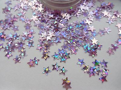 £2.25 • Buy Nail Art Glitter Sparkle Pink Silver Holographic 3D *Stars* Spangle Sequins Pot