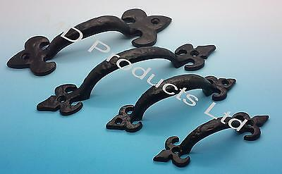 Black Antique Cast Iron Fleur De Lys Kitchen Cupboard Shed,Gate Door Pull Handle • 1.60£