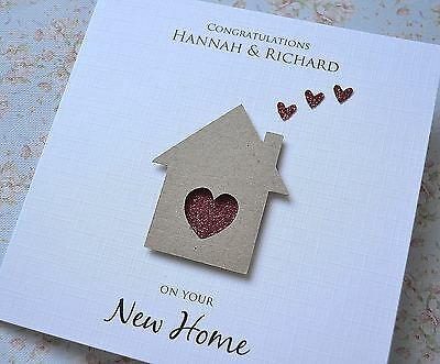 Personalised New Home House Card Handmade House And Hearts • 4.25£