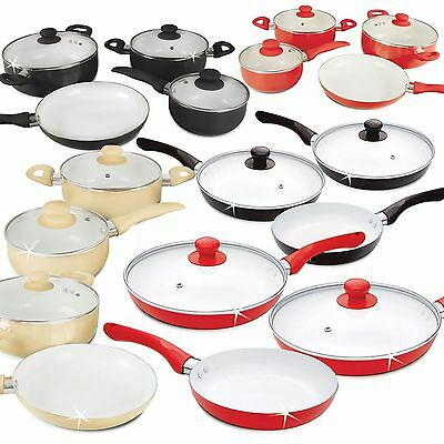 5/7 Pc Ceramic Saucepan Pot Glass Lid Cookware Set Fry Pan Frying Non Stick New • 31.95£