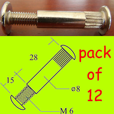 12x Connector Bolts/screws M6 30-40mm Kitchen/bedroom Cabinet/cupboard Furniture • 1.29£