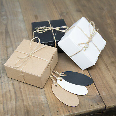ECO KRAFT Small Square Natural GIFT BOXES Wedding Favour | Includes String/Tags • 5.99£