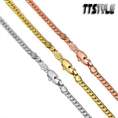TTstyle Gold Filled Flat Snake Chain Necklace Choose Colour And Size NEW • 5.67£