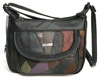 AU29.95 • Buy Patch Leather Multi Compartment Handbag. Adjustable Strap. Colour: Multi. 2945.