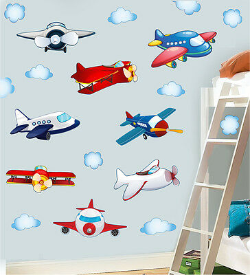 Childrens Planes & Clouds Wall Art Stickers 20 Pack Sky Plane Airplane Decals • 8.99£