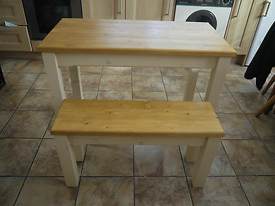Wooden Farmhouse Kitchen Dining Table And 2 Bench Set Sturdy And Solid • 212£