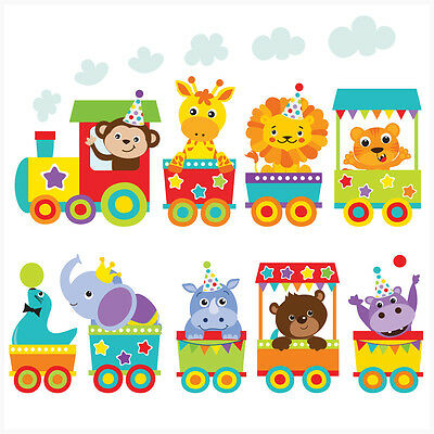 £7.99 • Buy Jungle Animal Train Wall Art Stickers Decal Mural Transfer Elephant Lion Tiger