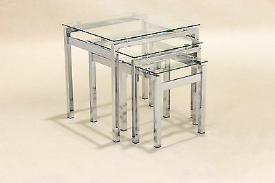Nest Of Tables Clear Glass Chrome Three Piece Lamp Side End Coffee Table Set • 94.99£