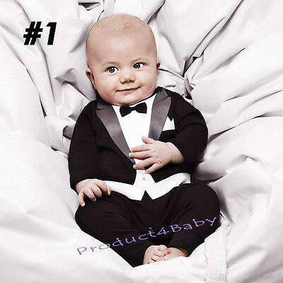 AU17.56 • Buy New Baby Boy Formal Tuxedo Suit Style One-Piece Romper Size Newborn To 36 Months