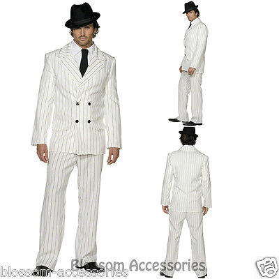 CL351 Mens White Gangster 20s 1920s Pinstripes Suit Fancy Dress Mobster Costume • 26.70£