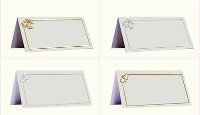 £3.99 • Buy Pack Of 50 Place Name Cards Wedding Bells Or Love Hearts Design - Table Settings