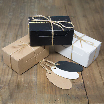 ECO KRAFT Small Rect Natural GIFT BOXES Wedding Favour | Includes String/Tags • 3.49£