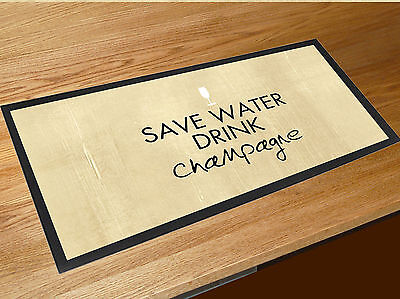 £15.45 • Buy Save Water Drink Champagne Quote Bar Runner Home Bar Counter Mat