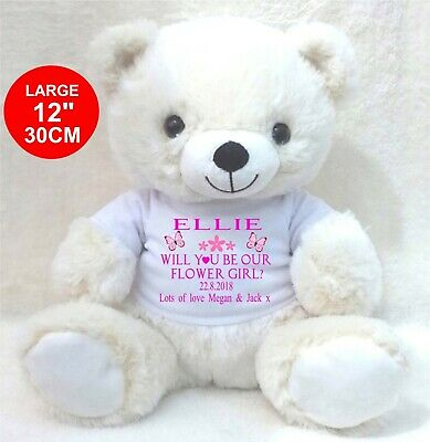 £11.99 • Buy Personalised Cream Teddy Bear 30cm/12   Will You Be Our Flower Girl Bridesmaid