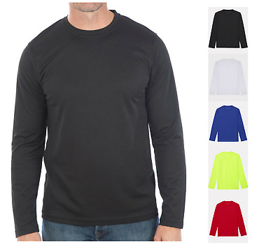 Mens Wicking T Shirt Breathable Long Sleeve Cool Top Running Training Base Layer • 11.99£