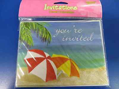 Tropical Vacation Bird Beach Summer Luau Beach Party Invitations W/Envelopes • 3.53£