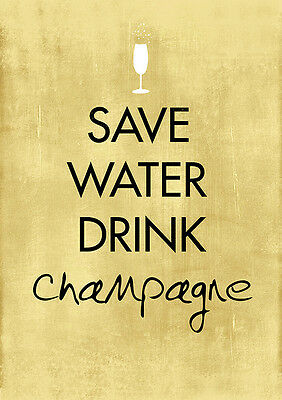 £11.99 • Buy Save Water Drink Champagne Poster Art Print