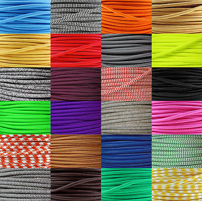 Coloured Braided Fabric Lighting Cable, Vintage, Industrial, Silk Flex, Lamp • 3.99£