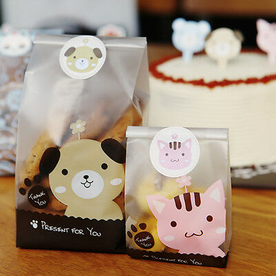 £2.39 • Buy 10-100X Cute Dog Cello Cellophane Party Candy Sweet Cookie Gift Bags & Stickers