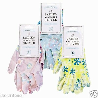 Ladies Garden Gardening Gloves Printed Flower Latex Cotton Backed Washable S M L • 3.45£