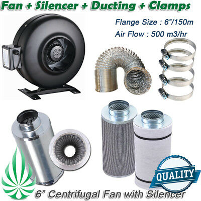 AU387 • Buy 6in Inline Fan Carbon Filter Ducting Muffler Silencer Grow Tent Ventilation Kit