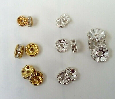 100 X  Brass Rondelle Rhinestone Clear Crystal Spacer Beads 6mm 8mm 10mm GP / SP • 2.99£