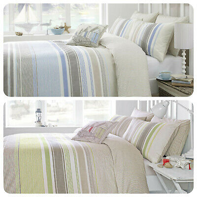 Dreams & Drapes FALMOUTH - Seaside Stripe Duvet Cover Set Bedding & Cushions • 19.99£