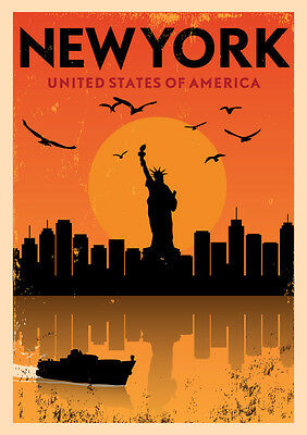 New York United States Of America Travel Large Metal Tin Sign Poster Retro  • 14.99£