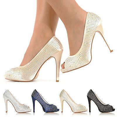 Womens Wedding Prom Party Evening Diamante High Heel Peeptoe Shoes Size 3-8 • 12.99£
