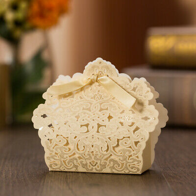 1-200X Wedding Favours Sweets Boxes Bags Table Decorations - Gold Lace Laser Cut • 20.99£