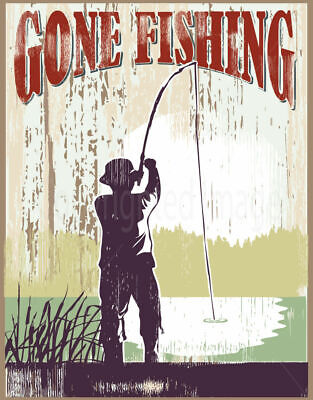 £14.99 • Buy Gone Fishing Large Metal Tin Sign Poster Vintage Style` Wall Plaque `