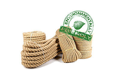 Jute Rope Twine Natural Strong Braided 6mm - 40mm, 1m - 50m For Boating, Sailing • 2.75£