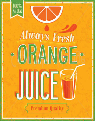 100 % Fresh Orange Juice  Large Metal Tin Sign Poster  Retro  Plaque Vintage  • 14.99£