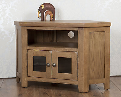 Corner TV Cabinet Stand Unit Glass Doors Chunky Dorset Country Solid Oak • 279£