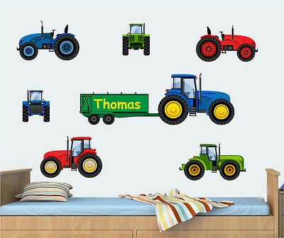 Childrens Personalised Tractors Pack Wall Vinyl Stickers Farm Digger Boys Decals • 8.99£