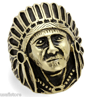 £14.13 • Buy Large Indian Head Antique Copper EP Stainless Steel Mens Ring