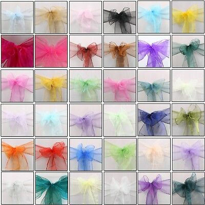 £34.99 • Buy 100 Organza Chair Covers Wider Sashes Fuller Bows Anniversary Party Decoration