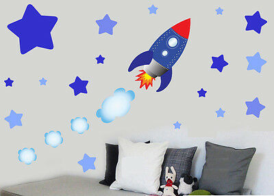 Childrens Rocket Ship Space & Stars - Wall Art Stickers Decals Spaceship Sky • 8.99£