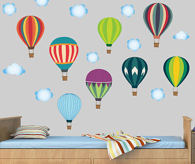 Hot Air Balloons & Clouds - Pack Of 18 Wall Stickers Mural Decal Childrens Sky  • 8.99£