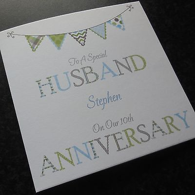 Personalised Handmade Wedding Anniversary Card Husband Wife (AN1) ANY YEAR • 3.75£