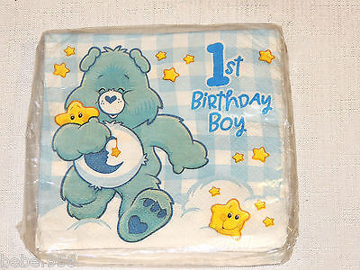 NEW CARE BEARS 1st  BIRTHDAY BOY  16-SMALL/DESSERT NAPKINS   PARTY SUPPLIES • 1.87£