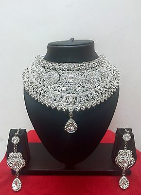$48.74 • Buy Indian Bollywood Style Fashion Rhodium Plated Bridal Jewelry Necklace Set
